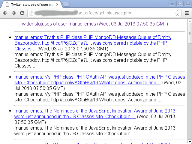 Example of output of a RSS feed generated by the class displayed on the browser using the included XSL stylesheet